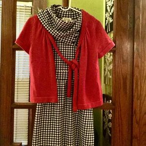 ANN TAYLOR red short sleeve cropped sweater w/ tie